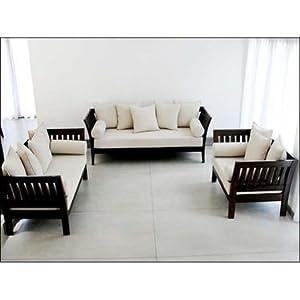 Furny Teak Solid Wooden Sofa Set 3+2+1 Extra Spacious - Cream