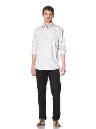 XMI Men's Checkered Dress Shirt (White/Black)