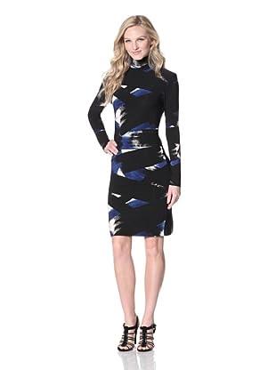 KAMALIKULTURE Women's Turtleneck Dress (Blue/Black)