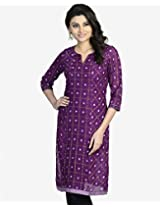 Cotton Ikat Panelled Mini Kurta-