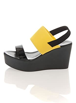 Pollini Keil Sandalette (Schwarz/Gelb)