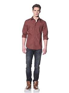 Just Cavalli Men's Spread Collar Shirt (Brick)
