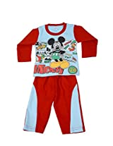 Kandyfloss Kidswear Red Colored Cotton Full Sleeve T-Shirt With Full Pant For Boys