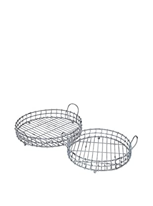 Three Hands Set of 2 Metal Trays, Grey