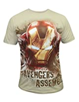 Marvel Iron Man Oatmeal Melange Half Sleeve Tee