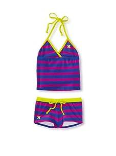 Hurley Girls 4-6x Minnow Stripe Tankini/Boyshort Swimsuit (Fuchsia)