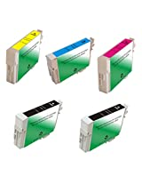 Amsahr T0731 Remanufactured Replacement Epson Ink Cartridges with 2 Black and 3 Color Ink Cartridges
