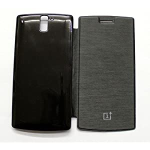 Onkarta Premium Quality Flip Flap Cover Case for OnePlus One - Black
