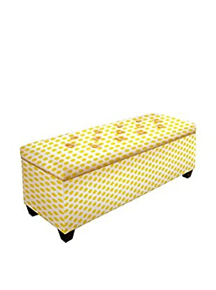 MJL Furniture Sole Secret Small Upholstered Shoe Storage Bench, Yellow/White