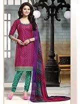 Saara Pink And Green Printed Dress Material - 144D4046