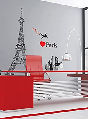 Ambiance Live Wandtattoo Giant Eiffel Tower with Parisian names 160 cm high mehrfarbig