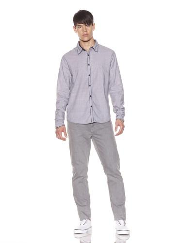Rogue Men's Contrast Trim Button-Front Shirt (Grey)