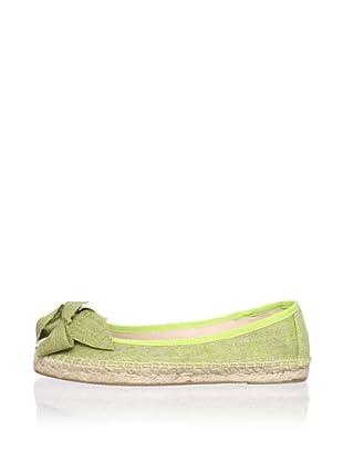 RAS Women's Linen Bow Flat Espadrille (Lime)