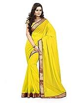 Viva N Diva Yellow Color Chiffon Saree.