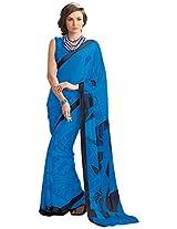 Bhavi Creations Printed Crepe Sari
