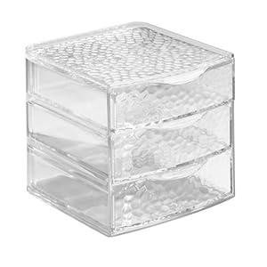 InterDesign Plastic Jewelry Organizer, 3 Drawer, Clear