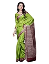 Brijraj,Green Poly Silk Beautifull Saree With Unstitch Blouse