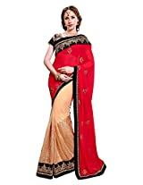 Utsav Fashion Women's Red and Beige Faux Georgette and Net Saree with Blouse
