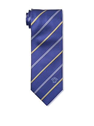 Versace Men's Striped Tie, Dark Blue/Gold