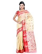 B3Fashion Tassar Silk Saree Without Blouse Piece (Ags126 -Beige)
