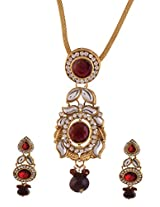 Ganapathy Gems Gold Plated Pendant Set With Maroon Stones (7357)