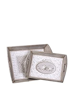 Chateau chic Tablett 2er Set Roses grau