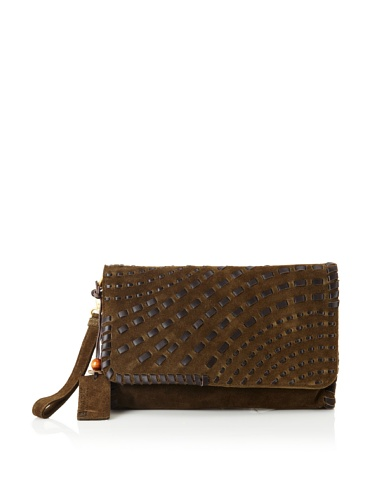 Linea Pelle Women's Willow Native Weave Clutch (Dark Olive)