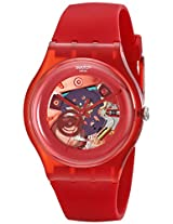 Swatch Women's SUOR101 Plastic Skeletal Red Dial Watch