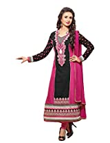 atisundar marvelous Black And Pink Embroidered Traditional Semi Stitched Straight Cut In Pure Cotton- 5740_30_37015