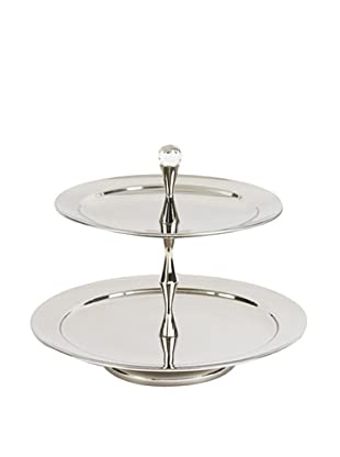 Sidney Marcus Crystal Two-Tier Serving Tray, Silver