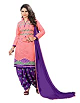 Suchi Fashion Peach & Purple Cotton Embroidered Patiyala Suit Dress Material