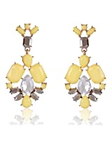 Cinderella Collection by Shining Diva Golden & Yellow Crystal Hanging Earrings for Women 6947er