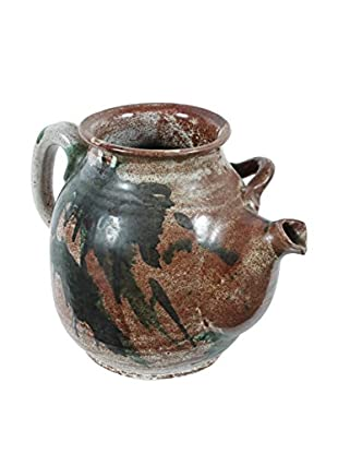 Swedish Ceramic Water Pitcher, Brown/Green/Cream