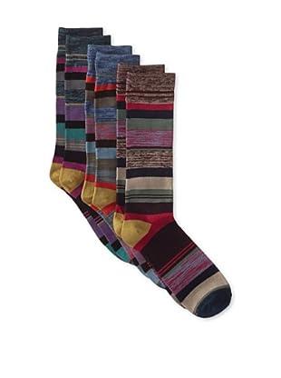 Florsheim by Duckie Brown Men's Variegated Stripe Socks - 3 Pack (Assorted)