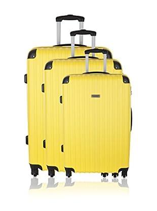 Travel ONE Set de 3 trolleys rígidos Aligara Amarillo