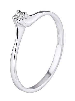 Design Diamond Anillo Boucles Rails Oro Blanco 0.06 Cts