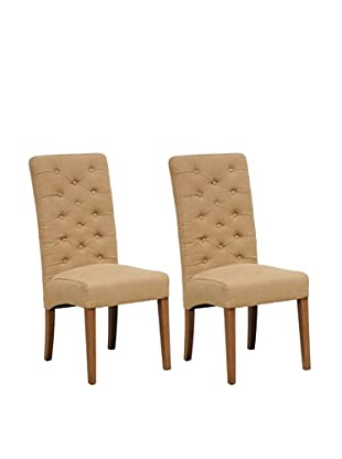 Classic Home Set of 2 Soho Side Chairs, Tan
