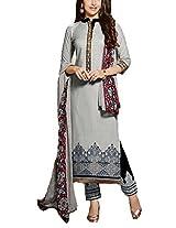 Clickedia Beautiful Cotton Embroidered Grey & Black churidaar Salwaar Suit