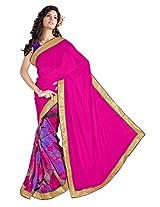 Brilliant Pink Fancy Half-Half Printed Saree