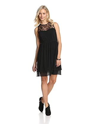Jessica Simpson Women's Pleated Dress with Lace (Black)
