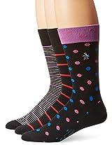 Original Penguin Men's Dot and Stripes Crew Socks, Three Pairs