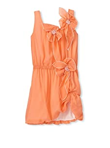 Sonia Rykiel Girl's Silk Bloom Tank Dress (Coral)