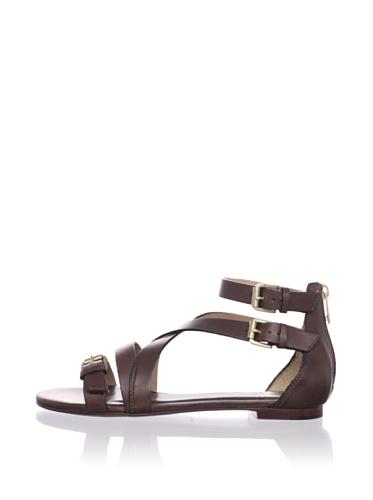 Pour La Victoire Women's Bryn Flat Buckled Sandal (Brown)