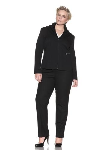 Z from Zenobia Women's Plus Ribbed Collar Waffle Jacket (Black)