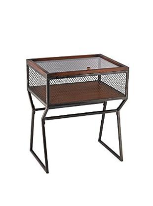 Artistic Lighting Curio Cabinet, Aged Iron/Mahogany