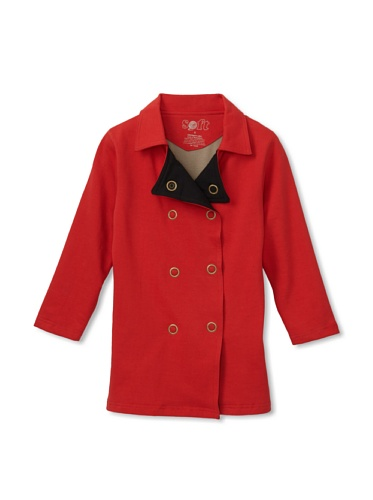 Soft Clothing Kid's Double-Breasted Knit Peacoat (Poppy)