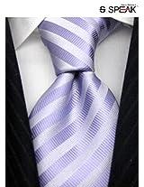 SPEAK Purple & White Diagonal Striped Tie