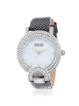 Badgley Mischka Women's BA/1279WMBK Black/Mother of Pearl Calfskin Watch