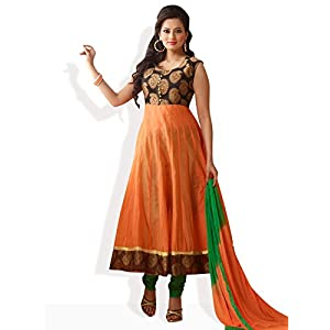 Citrus Crush Anarkali Ready To Stitch Suit-Orange-FS