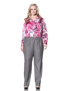 Jones New York Women's Plus Straight Leg Pant (Shadow Grey)